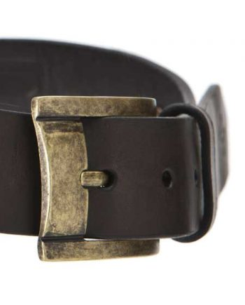 Embrazio Curva Handmade Genuine Leather Belt -Coffee with Antique Brass